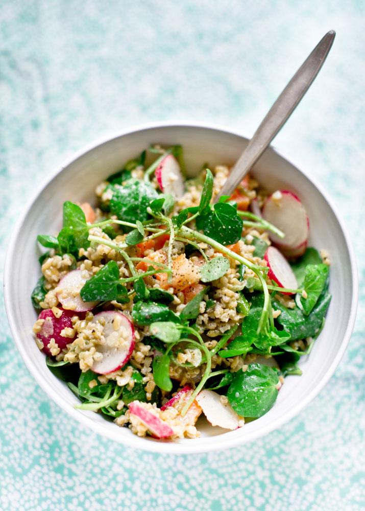 Farro Salad with Radish & Miso dressing_pt